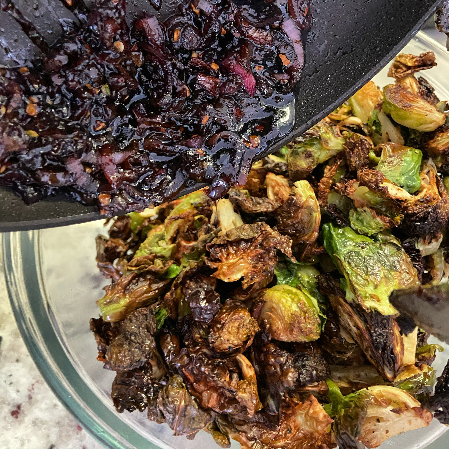 Crispy Balsamic, Bacon Brussel Sprouts